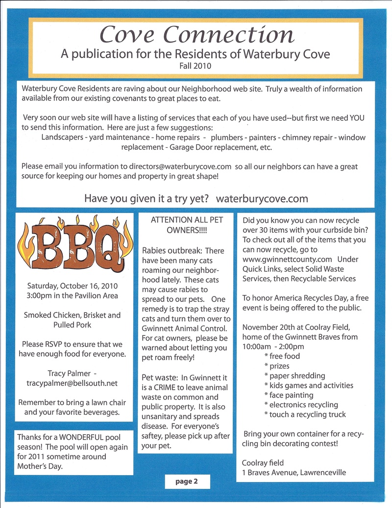 Newsletter - Welcome to Waterbury Cove!